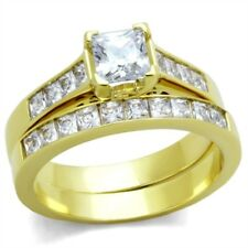 All Princess Cut CZ Gold IP Stainless Steel Engagement 2 RINGS SET SIZE 5-10