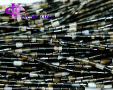 Discount Wholesale Natural Black Agate Tube Loose Beads Columnar Jewerlry Stones