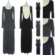 Solid Rayon Long Sleeve Open Back Maxi Dress Round Neck Full Length S M L