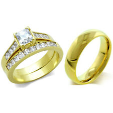 3 PCS HIS HERS Princess Cut CZ Gold Stainless Steel Wedding Ring Set/ Mens Band