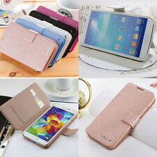 LUXURY SLIM WALLET Silk Leather Stand Flip case For Samsung Mobile Cell Phone