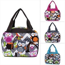 Grey & White Chevron Owl Print Insulated Lunch Bag