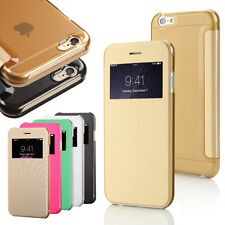 For Apple iPhone 6 & 6 Plus Leather Flip Smart View Window Wallet Case Cover