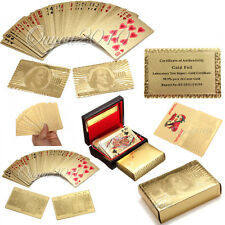 24K Gold Foil Plated Poker playing cards Collection Box/US/EURO dollar xmas gift