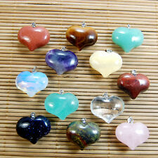 20x25mm Natural Crystal Gemstone Reiki Chakra Healing Pendant Heart Pendant Bead