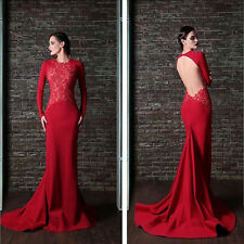 Lady Red Prom Ball Gown Long Party Cocktail Evening Formal Lace Wedding Dress