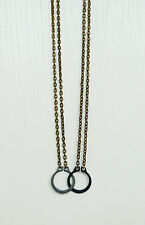 Handmade Black Handcuff Pendant Double Chain Retro Brass Necklace