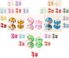 HOT 10pcs SILVER MURANO bead LAMPWORK fit European Charm Bracelet jewelry choice