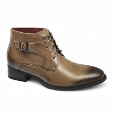 Giovanni Mens Leather Lined Lace Up Buckle Formal Ankle Chukka Boots Tan Brown