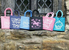 JUTE LUNCH BAGS - Various Designs (BRAND NEW)