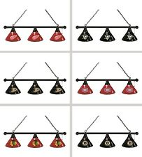 Choose Your NHL Team Black Finish 3 Shade Pool Billiard Light by HBS