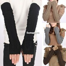 Womens 100% Cashmere Protection Knitted Wool Long Fingerless Arm Warmers Gloves