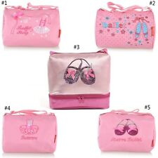Pink Gymnastics Girls Ballet Shoe Embroidered Tote Duffel Duffle Bag Rhinestone