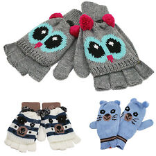 Children's Fleece Animal Gloves Kids Warm Winter Mittens & Fingerless Gloves