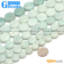 "Natural Amazonite Gemstone Coin Beads Free Shipping Strands 15"" 12mm 14mm 16mm"