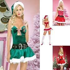 Sexy Women Adult Costume Mrs Santa Clause Christmas Cosplay Outfit Velvet Dress