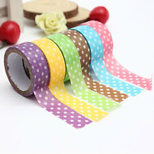 15mm Dot Print Washi DIY Masking Paper Roll Tape Decorative Adhesive Sticker NEW