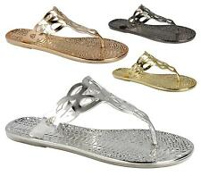 Ladies Slip On Flat Jelly Flip Flop Metallic Snake Gladiator Summer Sandals
