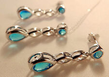 Aquamarine Necklace or Earrings NEW GREAT GIFT