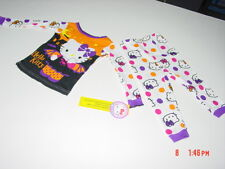 NWT Girls Hello Kitty NEW Adorable Halloween Themed Pajamas Sleepwear