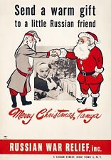 XM1 Vintage War Time Christmas Relief Santa Russia America Poster Print A2/A3/A4