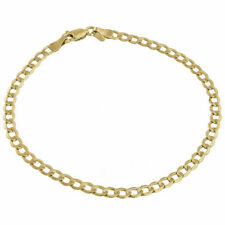 Mens or Ladies 10k Yellow Gold Flat Cuban Curb 4 mm Link Bracelet 8-10 Inches