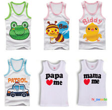 New Baby Children Boy Girl Unisex Cute Vest Waistcoat Printed Design Cotton
