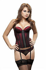Viveka: Vedette 636 Lace-Up Sexy Bustier Corset Red Front Hook Colombian Faja