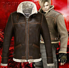 Resident Evil 4 / Leon Scott Kennedy Game Cosplay Plus Cotton Leather Jacket