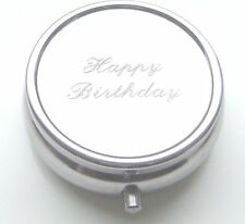 ROUND SILVER PLATED PILL TABLET TRINKET GIFT BOX - CAN BE PERSONALISED ENGRAVED