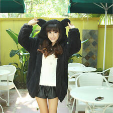 Women Girl Winter Loose Fluffy Bear Ear Hoodie Hooded Jacket Warm Outerwear Coat