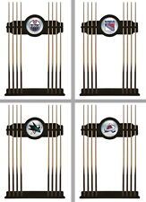 Choose Your NHL Team 2PC Black Wood Finish & Mirror Billiard Cue Rack by HBS