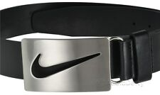new-nike-golf-mens-black-belt-silver-brushed-metal-buckle-w-swoosh-cutout