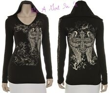 PLUS SIZE BLACK CRYSTAL LACE CROSS WINGS HOODIE PULLOVER JACKET SHIRT 1X 2X 3X