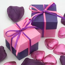 Bright Pink & Purple Silk Two Tone Square Box & Lid Wedding Favour Party Boxes