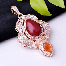 grace jade stone inlay necklace pendant crystal inlay rose gold plated jewelry