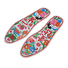 Pair Embroidery Lotus Pattern Nonslip Shoe Pads Insoles for Ladies