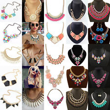 Jewelry Crystal Choker Chunky Statement Bib Flower Pendant Collor Necklace Party