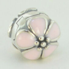 Sterling Silver .925 European Charm Pink Enamel Cherry Blossoms Clip Bead 88409