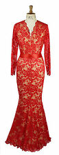 Baylis and Knight Red Nude Low Cut Lace FISHTAIL Long Maxi Wiggle Mermaid Dress