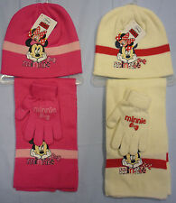 Childrens Childs Kids Girls Minnie Mouse Hat Scarf Gloves Set Disney Pink Cream