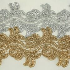 "3.8"" Metallic Rayon Embroidery Flower Lace Trim Metallic Bridal wedding Lace"