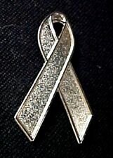 Gray Silver Awareness Ribbon Pin Cancer Cause Textured Plated Lapel Pins New