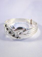Sterling Silver .925 & Sapphire 4 Band Turkish Puzzle Ring - 5 Accent Gems