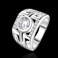 Shinning 925Sterling Silver Zircon Hollow Circle Wide Ring Size 7 or 8 FR474