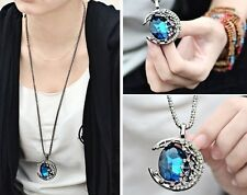 Fashion Moon Blue/coffee Crystal Sweater Chain Ajustable Charm Necklace