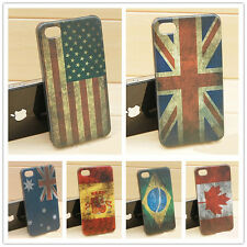 Retro Classical Multi National Flag Hard Case Back Cover For Apple iPhone 4 4S