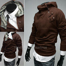 Hitz Mens Casual Long Sleeve Hooded Pullover Inner Fleece Sweater Coat M-XXXL