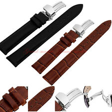 New Genuine Butterfly Deployant Clasp Buckle+ Leather Watch Band Strap 18mm-24mm