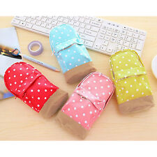 Cute Pencil Stationery Case Polka Dot Phone Coin Pen Storage Bag Organizer Pouch